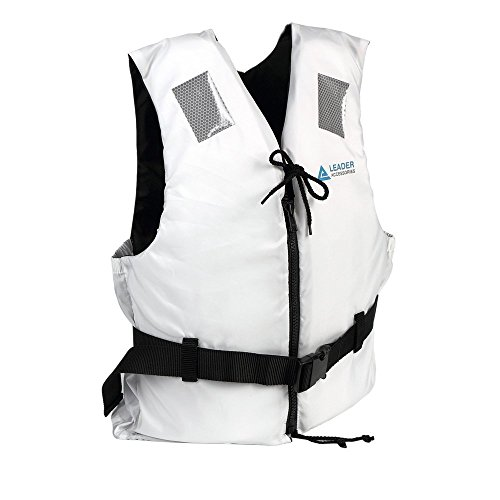 Leader International Schwimmhilfe Erwachsene ISO 12402 CE-Kennzeichnung, Festtoffweste ideal für den Wassersport, Auftriebshilfe bis zu 45N(Weiß M: 50-70kg)