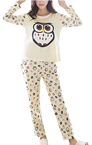 Womens Loungewear Set Snoopy Mickey Mouse Print Pyjama Top Cotton PJ Nachtwäsche (M - EU42/44, Lemon - Owl Print Sleepwear)