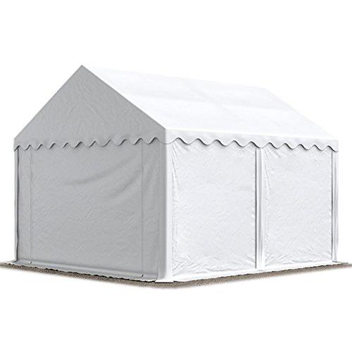 Abri / Tente de stockage ECONOMY - 4 x 4 m en blanc - toile PVC 500 g/m² imperméable / protection contre les rayons UV (80+) / structure robuste en acier galvanisé