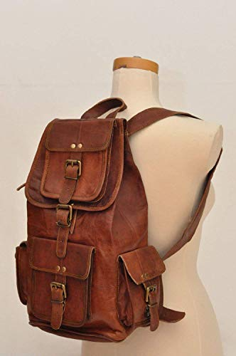 "pranjals house Vintage Handmade Leather Trendy Backpack Bag for Unisex (Darkish Brown) 16""(L),11""(W),7""(D) Image 3"