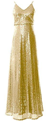 MACloth -  Vestito  - linea ad a - Senza maniche  - Donna Light Gold