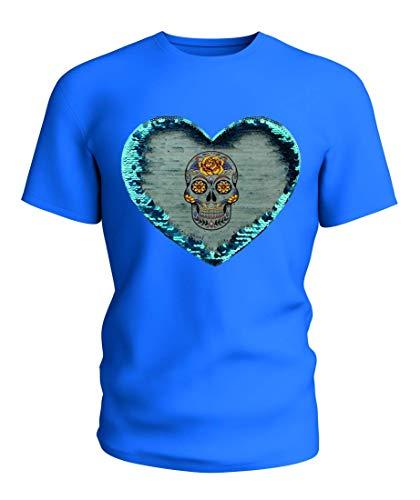 T-Shirt Wende Pailletten SCHÄDEL- Tag DER Toten- Tod- MEXIKANISCHER- Muertos- Skelett- Halloween in Blau   104-5XL (Bis Noch Halloween Fünf Tage)