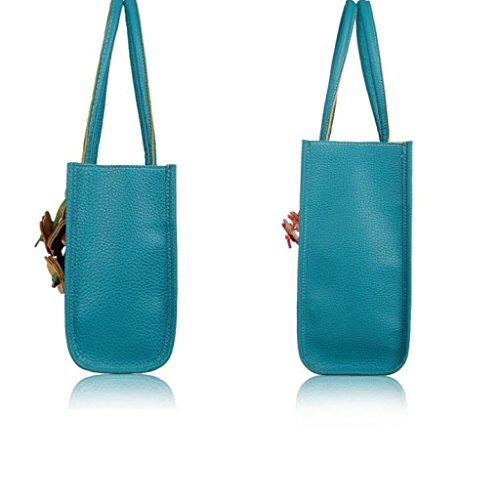 Bluestercool Frauen Art und Weise elegante Schultertasche aus Leder-Süßigkeit-Farben-Blumen Tote Blau