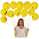 PARTY PROPZ SMILEY BALLOON (Printed Face Expression Latex Balloon 50 Pcs, Yellow)