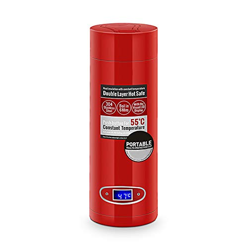 TINKOU Tragbarer Elektrischer Wasserkocher, Doppelte Isolierung Und Anti-Verbrühungs-Mini-Reisewasserkocher-Isolierungs-Kochender Becher, Passend Für Geschäftsreise (Weiß-Rot),Red