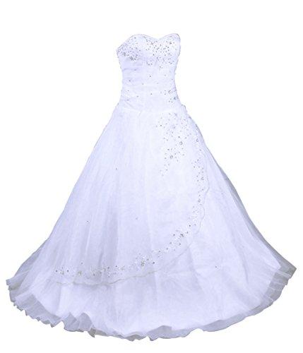 Vantexi Damen trägerlosen Abendkleid Organza Brautkleid Hochzeitskleider Weiß Größe 48
