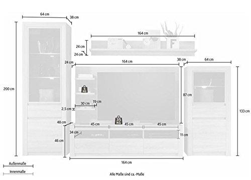 trendteam SV98345 Wohnwand Kombination Eiche Sonoma Hell Nachbildung, BxHxT 312 x 200 x 51 cm - 3