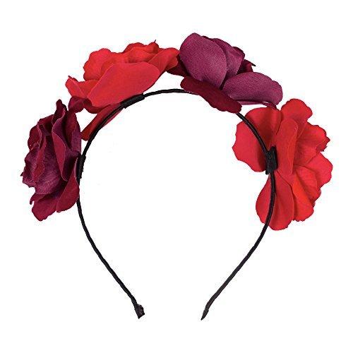 Erwachsene / Kinder Halloween 'Tag der Toten' Haarreif Mit Rosa Blume - Red / Fuchsia, One Size, One size (Tag Der Toten Kostüme Uk)