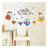 QTZJYLW Kreative Wand Dekoration Schöne Blume In Teekanne Muster Hause Wand Boden Wandaufkleber (50 × 70 Cm)