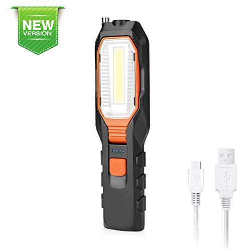 FOCHEA LED Arbeitsleuchte Taschenlampe Werkstattlampe Superhelle LED COB Inspektionsleuchten Wiederaufladbare Campinglampe für den Haushalt Werkstatt-Automobil-Notbetrieb (Orange)