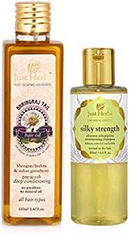 Just herbs Bhringraj Oil - 100 ML + Just Herbs Silky Strength Aloevera Wheatgerm Moisturizing Shampoo -200 ML