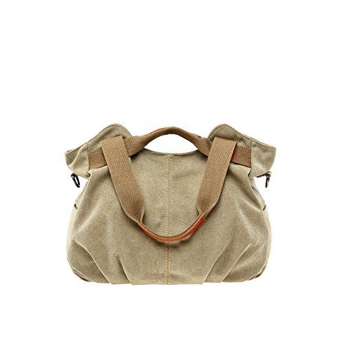 Yvonnelee Canvas Tasche Handtasche Henkeltasche Schultertasche Umhängetasche für Damen und Frauen Schulterriemen Abnehmbar - Braun Khaki
