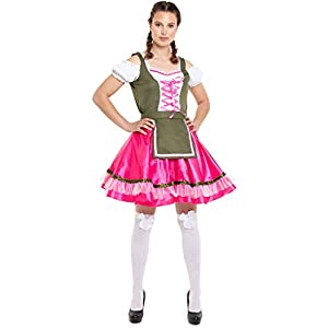 Folat 63295 Oktoberfestkleid/Dirndl klassisch Pink-Grün - Talla L-XL, para mujer