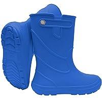 SAPRO SYSTEM PRO Blue Kids Boys Girls Wellies Rain Boots Warm Light Unisex Children Wellington Boots PVC-Free EVA (UK: 13/1 Teen EU: 32/33)