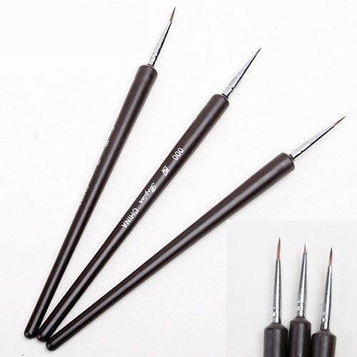 3Tiny Nail Art Tipps Salon Zeichnungen Malen UV Gel Acryl Stift Pinsel Set -
