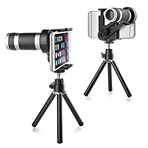"Téléobjectif Binoculaire Télescope Longue-vue Lentille Caméra 8X Zoom avec Trépied Pour iPhone 4/5S/5C/6/7 4.7"" HTC One M7/M8 Samsung Galaxy Note 3/4, S3/S4/S5/S6 Edge, Largeur: 5,2 - 9,2 cm"