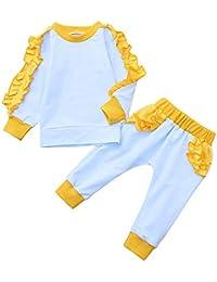 2pcs Neonata Completini ❤ Manica Lunga O-Collare Volant Stampa T-Shirt Cime 45aa7afb0cd