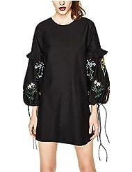 TT Vestir de manga de encaje vestido de manga larga de algodón Cinturón Negro Band , black , s