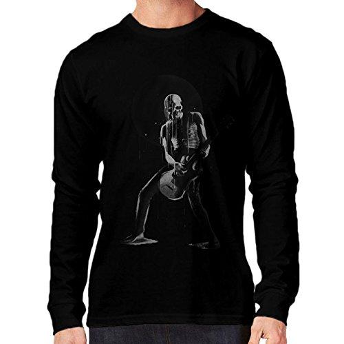 t-shirt manica lunga nera music & death - musica e morte S M L XL XXL uomo donna bambino maglietta by tshirteria