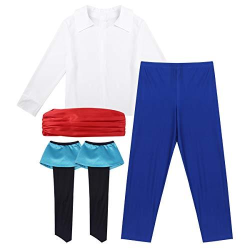 Agoky Erwachsenenkostüm Herren Prinz Kostüm Cartoon Meerjungfrau Cosplay 4 er Set Verkleidung Outfits Halloween Fasching 4-Teillig L (Ein Prinzen Kostüm)