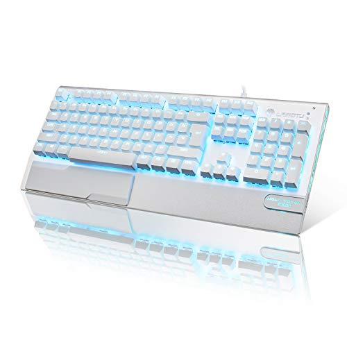Gaming Tastatur Weiß LANGTU Mechanische Tastatur mit LED Hintergrundbeleuchtung QWERTY (US-Layout) Anti-ghosting Blaue Schalter Tastatur, Ganzmetall-Panel mit Handballenauflage 104 Tasten