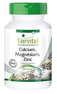 Calcium Magnésium Zinc - chélate, biodisponible - complexe idéal - 250 comprimés végétariens