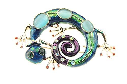 Wunderschöne Damen, Türkis, Grün, Violett, gekräuselt, Gecko-Eidechse 6 cm Design Abend - Gecko Hat