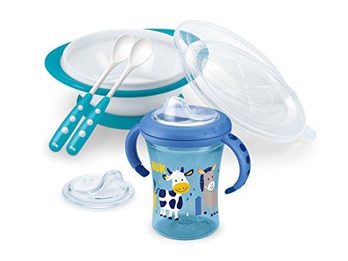 NUK 10.225.130 Esslern-Set Boy, Geschenkbox mit Cup, Esslernschale und Löffeln, ab 6 Monaten - Baby Geschirr