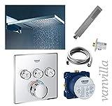 vanvilla Dusch-Set Unterputz Armatur Grohe SmartControl Thermostat Regenduschkopf 54x22 cm poliert mit Schwall Set G04