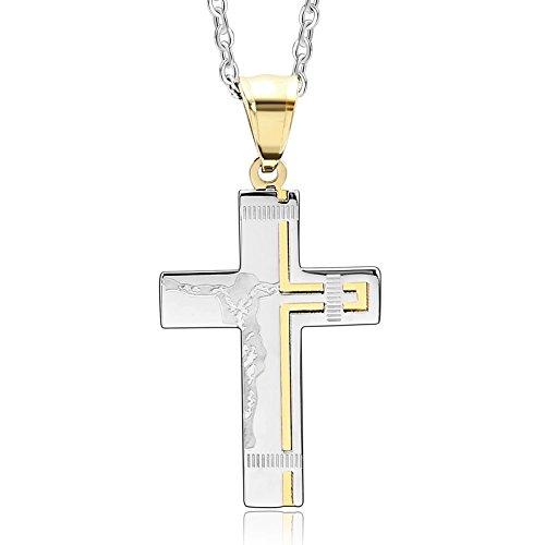 Beydodo 316L Edelstahl mit Anhänger Halskette für Damen Jesus Kreuz Kruzifix Kette Gold Silber