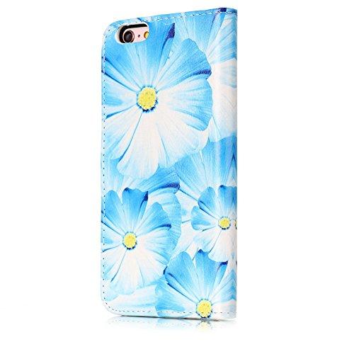 Aeeque® iPhone 6S 4.7 pouces Blanc Etui, Luxe Fille et Fleur Motif Dessin Housse Case en Cuir pour les iPhone 6(2014)/6S(2015) avec Support/ Pochette/ Magnétique Fonction Lisse Fleur Bleu Clair