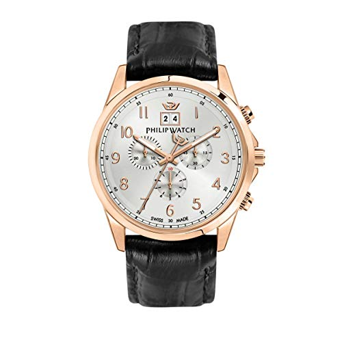 Philip Watch Men's Watch, Capetown Collection, Quartz Movement and Chronograph with Big Date, Equipped with a Croco Leather Strap - R8271612001