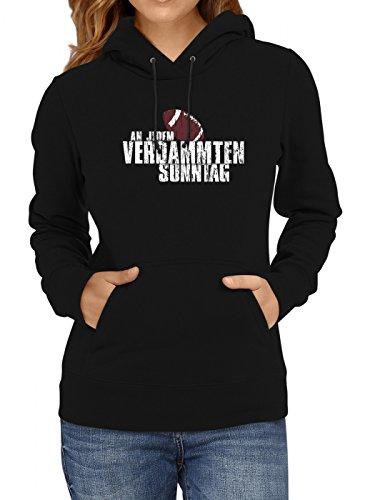 Shirt Happenz An jedem verdammten Sonntag #3 Premium Hoodie Any Given Sunday American Football NFL Frauen Kapuzenpullover, Farbe:Schwarz;Größe:M