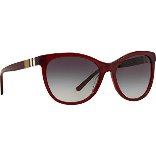 Burberry Unisex BE4199 Sonnenbrille, Rot (Gestell: bordeaux, Gläser: grau-verlauf 35438G), Large (Herstellergröße: 58)