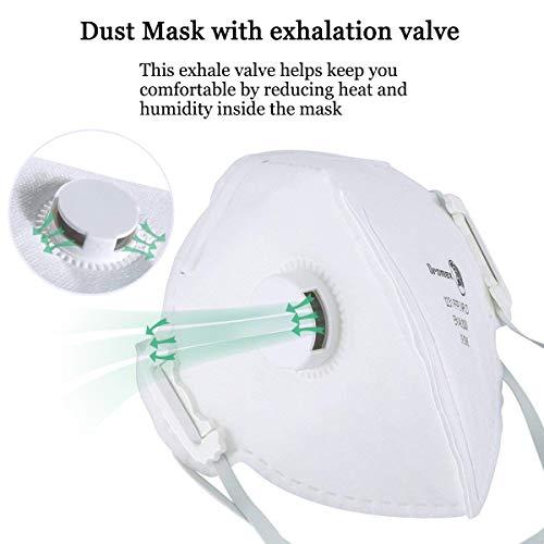 FFP3 Mascarilla Adulto, N95 Máscara de Seguridad Antipolución con Filtro de Respiración de Válvula Partículas de Aire Aisladas KN95 Mascarillas (1pcs)
