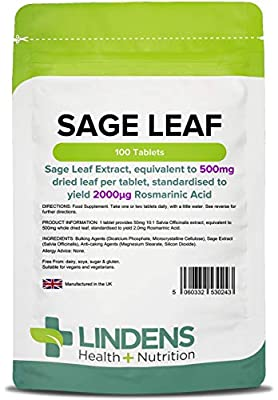 Lindens Sage Leaf 500mg Tablets   100 Pack   Sage Leaf Extract, Equivalent to 500mg Dried Leaf Per Tablet, Standardised to Yield 2000_G Rosmarinic Acid