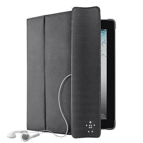 Belkin Storage F8N747cwC00 PU Kunstveloursleder Folio (Standfunktion, separates Stauchfach, geeignet für iPad 4/2/3 3rd Generation) schwarz