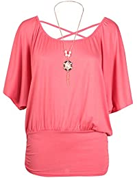 Womens Short Batwing Sleeve Ladies Stretch Round Scoop Neckline Cross Back Beaded Necklace T-Shirt Top