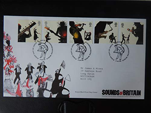 Great Britain Royal Mail 2006 FDC - Sounds of Britain Rock Kidderminster postmark first day cover music instruments harp sitar guitar violin saxaphone dancing Typed Address JandRStamps
