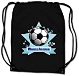 Samunshi® Turnbeutel mit Motiv Fussball und Name für Jungen und Mädchen personalisierbar personalisiert mit Namen Sportbeutel für Schule Sport Sporttasche schwarz