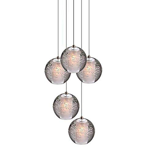 Pendelleuchte 5-Flammig,LED K9 Kristall Kugel Hängeleuchte, Höhenverstellbar Deckenleuchte für Wohzimmer Esstisch Treppe Schlafzimmer Esszimmer Pendellampe 5 * 3W Warmweiss Licht G4 Fassung