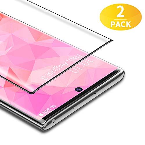BANNIO 3D Verre Trempé Complet pour Samsung Galaxy Note 10,[2 Pièces] HD Film Protection Écran en Couverture Intégrale pour Samsung Galaxy Note 10,Anti Rayures,HD Transparent,Dureté 9H,Noir