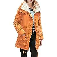 Hanomes Damen Mantel,Winter Damen Warme Lange Hoodie Lose Mantel Einfarbig Reißverschluss Revers Parka Jacket preisvergleich bei billige-tabletten.eu