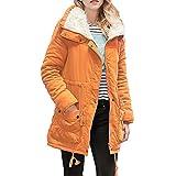 Yvelands Warm Long Coat Kragen Kapuzenjacke Schlank Winter Parka Outwear Mäntel Revers Outwear Langarm Tops Pullover Bluse Jacke