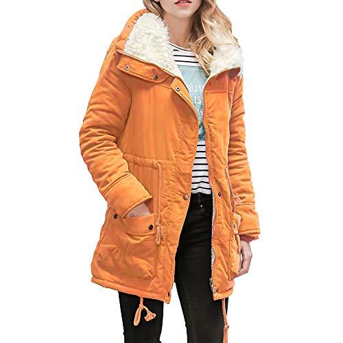 VRTUR Damen Jacke Warm Lange Mantel Halsband Mit Kapuze Schlan Winter Parka Outwear Black Friday Weihnachten(XX-Large,Orange)