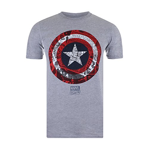 Marvel Ca Comic Shield, Camiseta para Hombre, Gris (Sport Grey SPO), Small