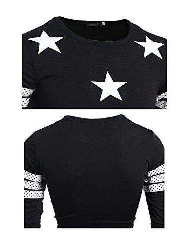 Bestgift Herren Mosaik O-neck Shirt Langarm T-Shirt Schwarz