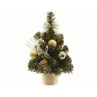 Kaemink – Mini árbol de Navidad Artificial Decorado con Bolas de Oro, Lazo, Conos de Abeto, Pino Verde, 21 cm