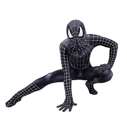 Peter Parker Black Spider-Man Kostüm Spiderman Kostüm Cosplay Zentai Kostüm Erwachsene Halloween Kostüm Party Film Kostüm Requisiten,Peter Parker Black Spiderman- 145~150cm ()
