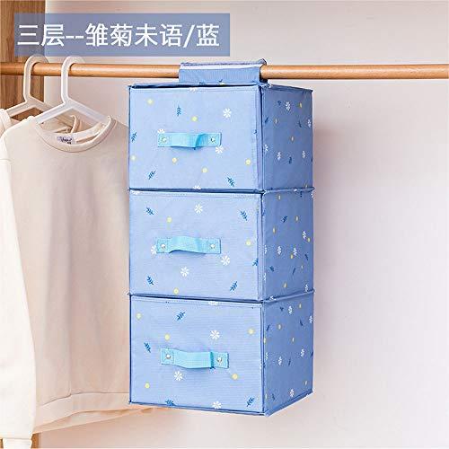 SSCJ Hängender Schrank mit Schublade 3-Shelf-Stoff Hängende Regale Organizer Zusammenklappbarer Kleiderschrank Aufbewahrungsregale Langlebige Aufbewahrungsbox Anzug für Kleidung Pullover,Blue - 3 Regal-pullover-organizer